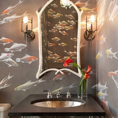 Water and fish; very bathroom worthy.  Notice the soft taupe upon which the fish swim. (Designed by David Scott Interiors, wallpaper by de Gournay)
