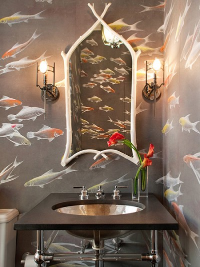 Water and fish; very bathroom worthy. Notice the soft taupe upon which the fish swim.