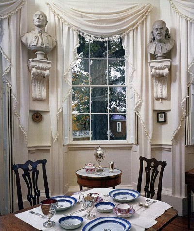"The formal and elegant ""tea"" room at Monticello has beautiful classical architectural detail. Throughout his life, Jefferson continued to develop his architectural theories and changed the house accordingly."