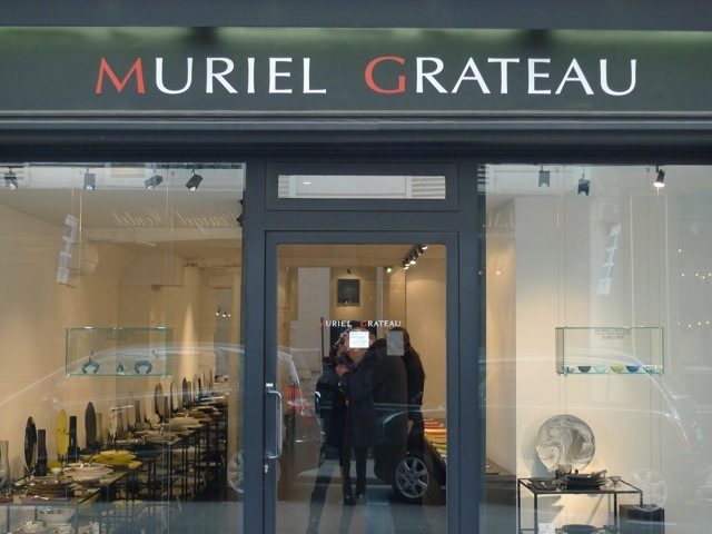 The very subtle store front of Muriel Grateau at 37, rue de Beaune.
