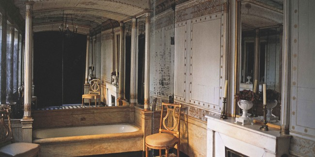 A few glamorous, stylish and elegant baths existed even in the late 18th century. This refined space for bathing, adjacent to the boudoir for dressing, has seating for visitors, a fireplace for warmth. bold marble floors for decoration and perfectly proportioned architectural details. This is a beautiful space in the French Empire style.
