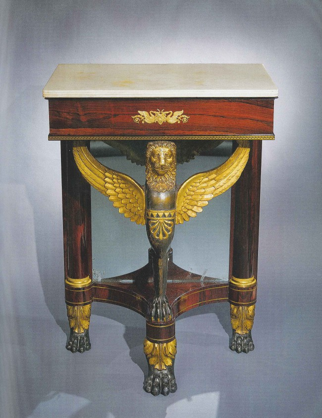This small console or pier  table, circa 1817-22, was crafted for the Beekman family of New York. It is made of rosewood, pine and ebony with ormolu mounts, string inlay and a marble top. This is an unusual and extremely rare example of Duncan Phyfe's work.