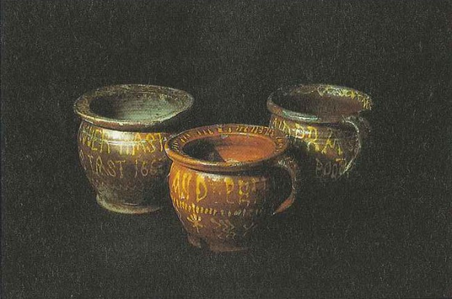 17th century earthenware chamber pots.