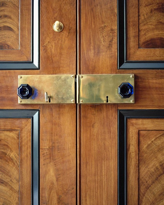 New brass rim locks with cobalt glass knobs are stunning. Gil Schafer chose them for his own Greenwich Village apartment.