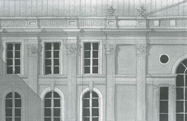 The inside front cover of CONTEMPORARY CLASSICAL is a page from the author's design file.  Beautiful classical architectural drawings as inspiration for the client.