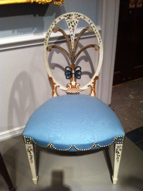 One of my favorite delicately painted chairs was created for Elias Haskett Derby of Marblehead, MA.  The oval painted back supported by gently curved stiles, a bowed center rail and sharply tapered legs makes this one of the simplest and direct of Federal forms.