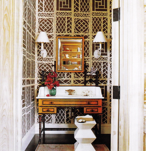 This is bamboo and lattice heaven. It is graphic, brown and bold!