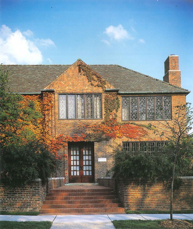A view of the house in fall. Commercial construction material were specified and cost significantly more to build than an comparable 4 bedroom brick house of regular residential materials.