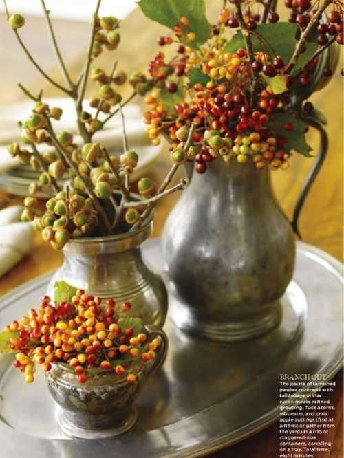 I plan to recreate this lovely fall arrangement on the dining room table.