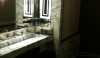 Cecconi's in LA. (I apologize for the poor quality of the photo) The theme of the restaurant runs right in to the bathrooms. Smart black and white marble planks set on the diagonal.