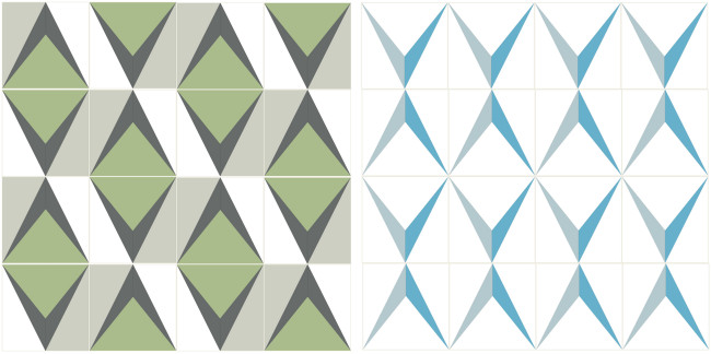 The positive and negative spaces are reversed and it makes this pattern look entirely different.