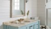 The vanity provides practical storage in this small bath.  Its' color is cool and fresh.