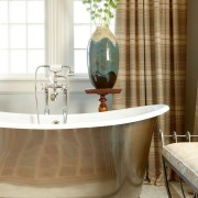 A beautiful example of a free-standing tub and exposed fitting installation