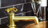 Result of product development, Waterworks.  Henry single hole faucet in unlaquered brass.
