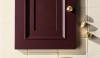 ISLA shown with a traditional painted cabinet and Pumice tile. Note, the wonderful hardware in the ISLA family.